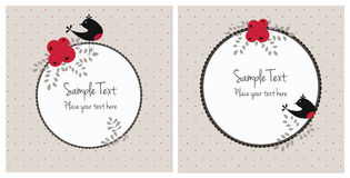 Cartões de Natal com pássaros e bagas Fotografia de Stock Royalty Free