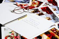 Cartões de Natal com pena e vidros Imagens de Stock