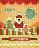 Cartões de Natal com Santa Imagens de Stock