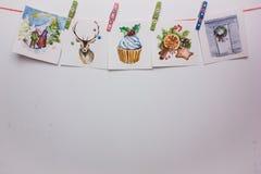 Cartões de Natal da aquarela em um fundo branco Imagens de Stock Royalty Free