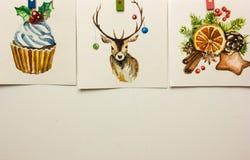 Cartões de Natal da aquarela em um fundo branco Imagens de Stock