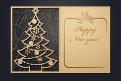 Cartões de Natal do molde para o corte do laser Através da imagem de ano novo da silhueta Ilustração do vetor ilustração royalty free