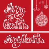 Cartões de Natal Elementos da tipografia da rotulação Vermelho ilustração do vetor