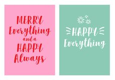 2 cartões de Natal modernos, grupo do vetor foto de stock royalty free