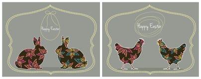 Cartões de Páscoa com coelhos e galinhas Imagem de Stock
