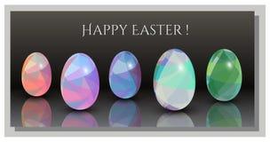 Cartões de Páscoa felizes - teste padrão abstrato do triângulo ovos de 3D Easter ilustração do vetor