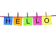Cartões de papel coloridos com palavras OLÁ! Fotografia de Stock