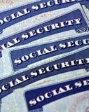 Cartões de segurança social que representam a aposentadoria Fotografia de Stock Royalty Free