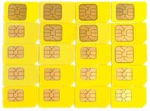 Cartões de Sim isolados no branco Fotografia de Stock