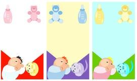 Cartões de sono do bebê e dos acessórios Imagens de Stock