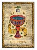 Cartões de tarô velhos Plataforma completa Ás dos copos ilustração royalty free