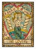 Cartões de tarô velhos Plataforma completa Os amantes ilustração royalty free