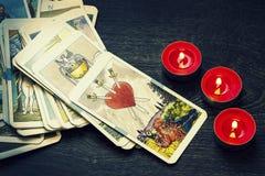 Cartões de Tarot fotografia de stock