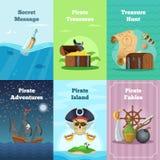 Cartões diferentes do convite do tema do pirata Ilustrações do vetor com lugar para seu texto ilustração do vetor