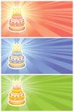 Cartões do aniversário ajustados Ilustração Stock