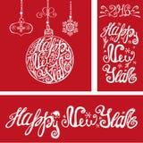Cartões do ano novo Elementos da tipografia da rotulação Vermelho ilustração stock