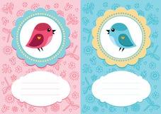 Cartões do bebê com pássaro Imagem de Stock Royalty Free