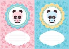 Cartões do bebê com panda Fotografia de Stock