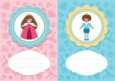 Cartões do bebê com príncipe e princesa Fotografia de Stock