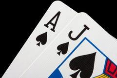 Cartões do Blackjack Fotografia de Stock