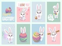 Cartões do coelho da Páscoa Coelhos do bebê bonitos e grupo do vetor do convite do partido dos ovos da cor ilustração do vetor