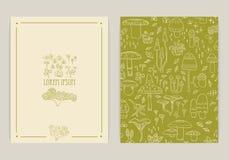 Cartões do cogumelo Fotografia de Stock Royalty Free