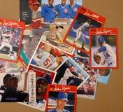 Cartões do coletor do jogador de beisebol fotos de stock royalty free