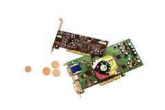 Cartões do computador sadio e video Imagem de Stock Royalty Free