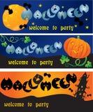 Cartões do convite ao partido de Halloween Fotos de Stock Royalty Free