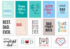 Cartões do dia de pais, grupo do vetor Foto de Stock Royalty Free