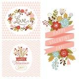 Cartões do dia de são valentim Imagem de Stock Royalty Free