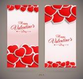 Cartões do dia de Valentim com corações Fotos de Stock