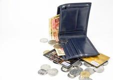 Cartões do dinheiro e de crédito da carteira Imagens de Stock