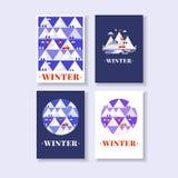 Cartões do inverno da montanha Fotos de Stock