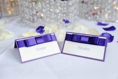 Cartões do lugar dos noivos Imagem de Stock