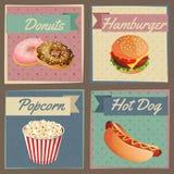 Cartões do menu do fast food Fotografia de Stock
