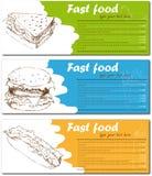 Cartões do menu do fast food com hamburguer, cachorro quente e Imagens de Stock Royalty Free
