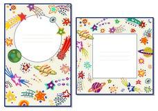 Cartões do molde com cometas e as estrelas coloridos espaço Ilustração do vetor ilustração stock