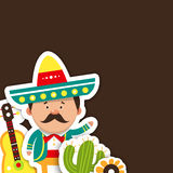 Cartões do molde para o feriado Ilustração do vetor do mexicano, Fotos de Stock Royalty Free