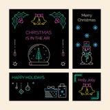 Cartões do Natal e do ano novo, bandeiras Fotos de Stock Royalty Free