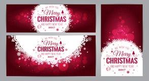 Cartões do Natal e do ano novo com o tipográfico no fundo brilhante do Xmas Ilustração do vetor Grupo de Xmas Imagem de Stock Royalty Free