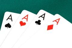Cartões do póquer de quatro ás Imagem de Stock Royalty Free