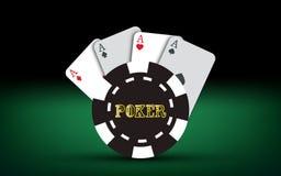 Cartões do póquer Elementos do casino do vetor Fotografia de Stock