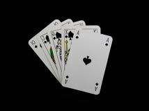 Cartões do póquer isolados no preto Imagem de Stock Royalty Free