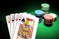 4 cartões do pôquer de J Fotografia de Stock Royalty Free