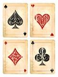 Cartões do pôquer do Grunge Fotografia de Stock