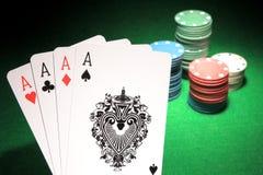 4 cartões do pôquer dos áss Imagens de Stock