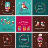 Cartões do projeto do Feliz Natal - ilustrações da garatuja ilustração royalty free