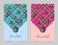 Cartões do rosa e do azul de bebê do convite com curva Ilustração Stock