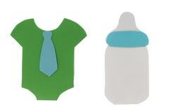 Cartões do t-shirt da garrafa e do menino de leite dos desenhos animados Fotos de Stock Royalty Free